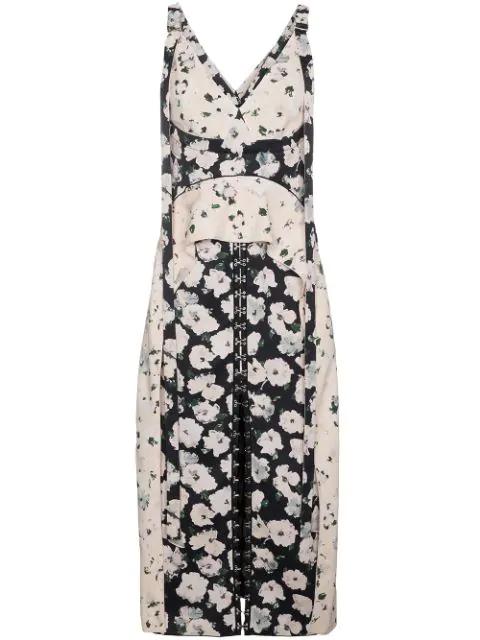 Proenza Schouler Printed Dress With Ruffle Peplum In Black