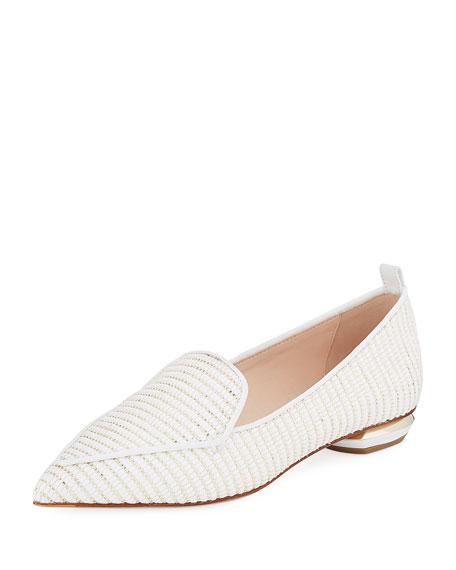 Nicholas Kirkwood Beya Woven Flat Loafer In White/Gold