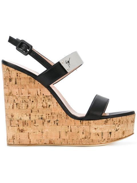 Giuseppe Zanotti Cork Wedge Sandals In Black