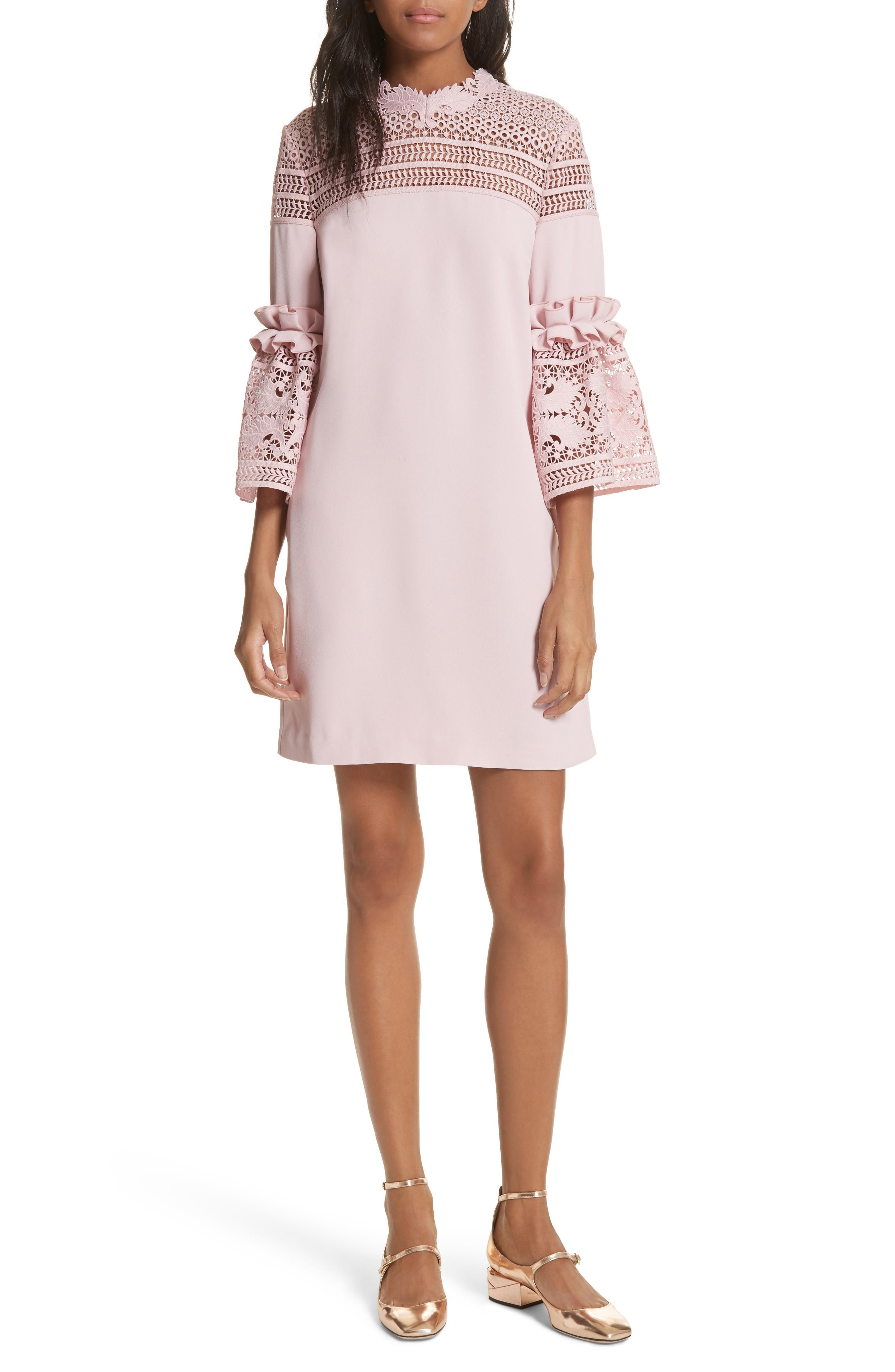 319681745 Ted Baker Lace Panel Bell Sleeve Tunic Dress In Dusky Pink