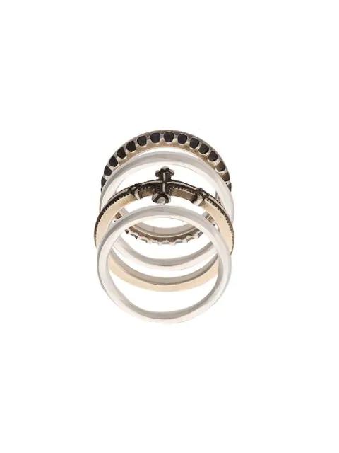Werkstatt:münchen Embossed Stackable Rings In Metallic