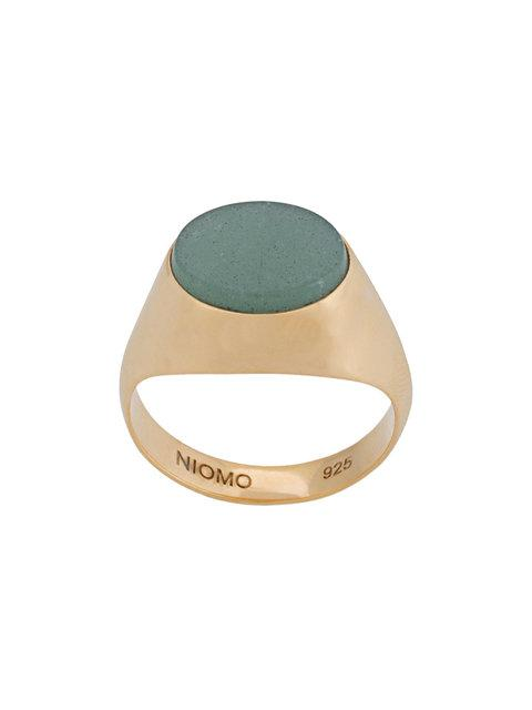 Niomo Paloma Aventurine Oval Ring In Metallic