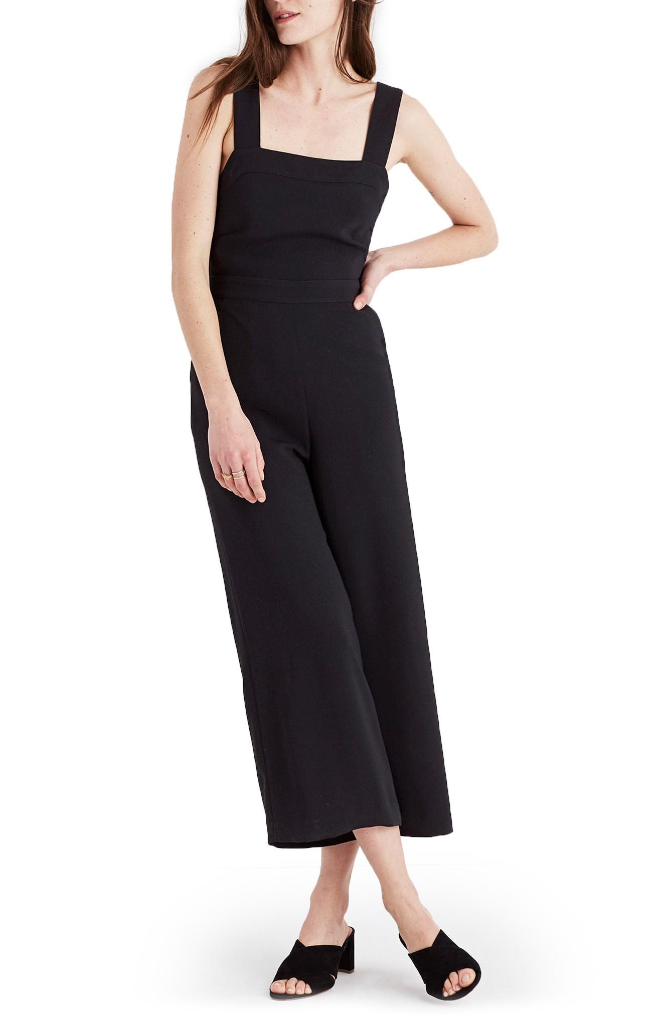 8ed8588b2a66 Madewell Apron Bow Back Jumpsuit In True Black