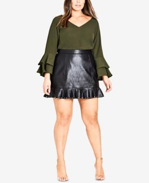 9b37c369641abb City Chic Trendy Plus Size Ruffled Faux-Leather Skirt In Black ...