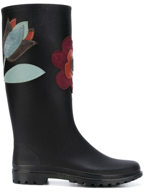 Red Valentino Rain Boots With Suede Flowers In Black