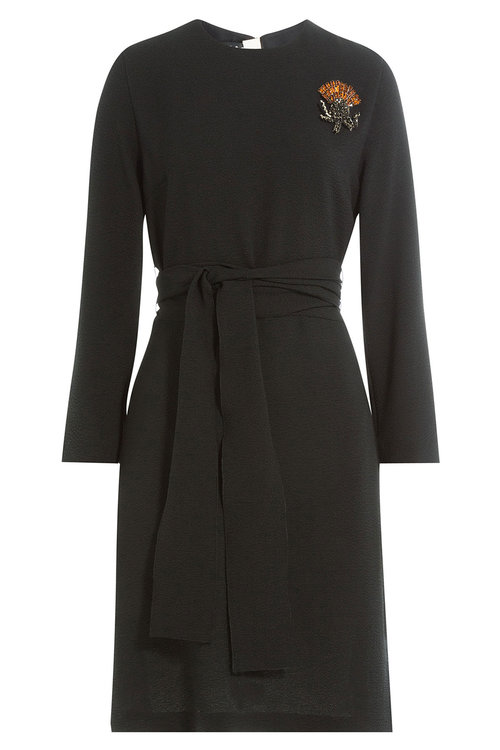 Rochas Belted Dress With Embellished Brooch In Black