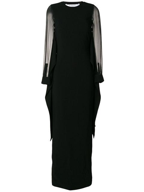 Givenchy Embellished Tulle-Paneled Crepe Gown In Black