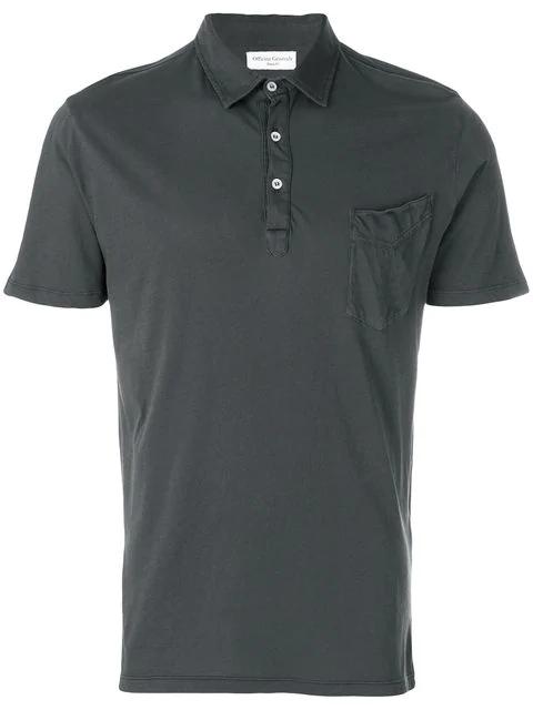 Officine Generale Bd Cotton Polo-Shirt In Granite-Grey