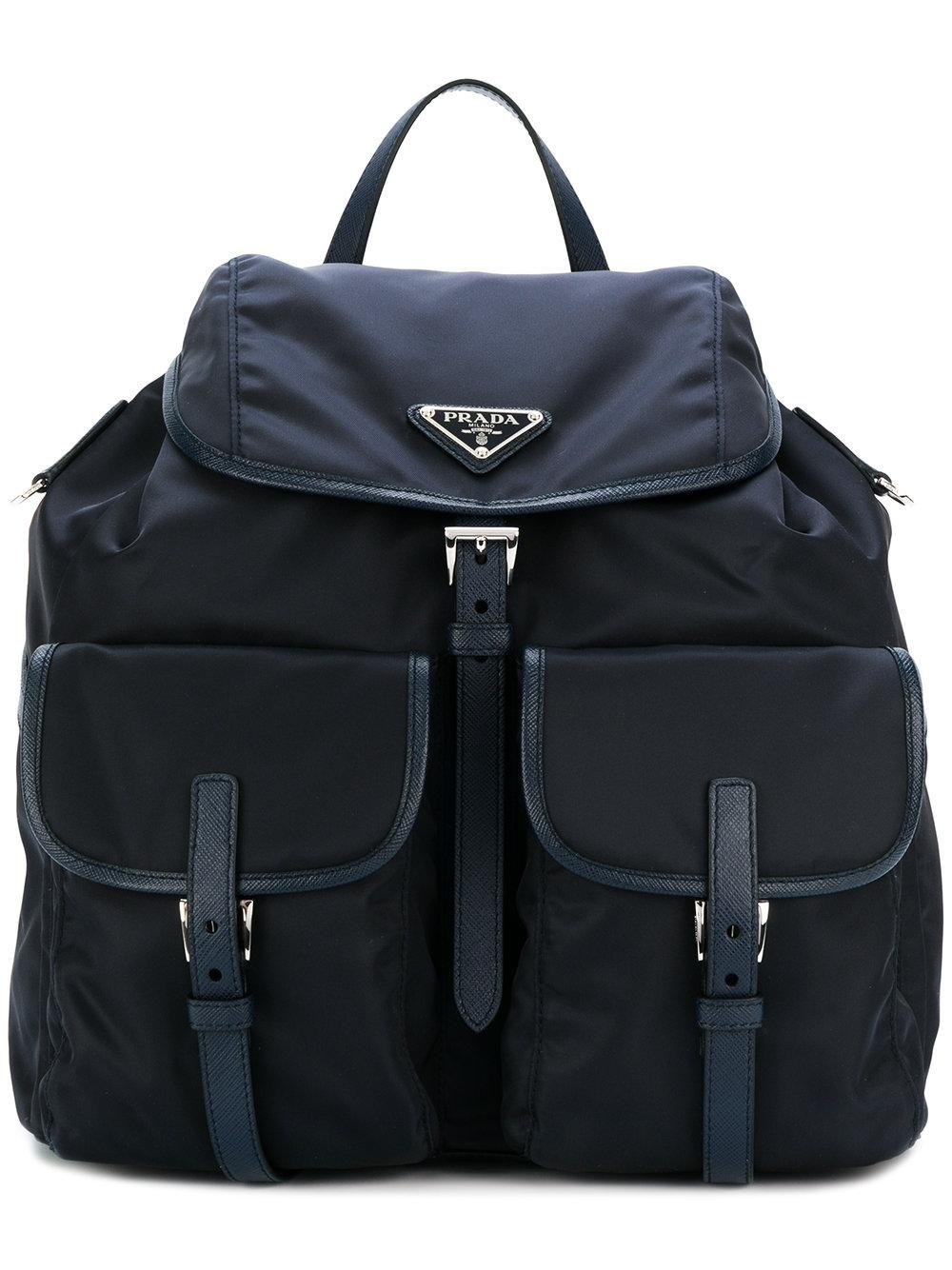 e732d584d0 Prada Leather-Trimmed Backpack