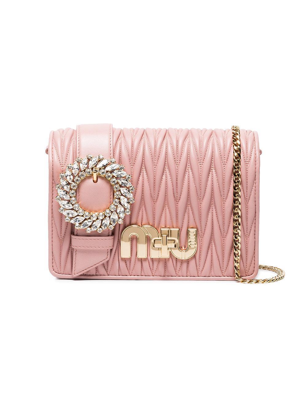 ff139619a9 Miu Miu Pink Matelassé Leather Cross Body Bag