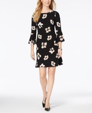 22a6f3225 Tommy Hilfiger Printed Bell-Sleeve Dress In Black Blush