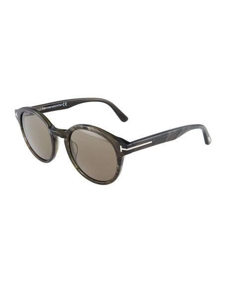 Tom Ford Round Acetate Sunglasses In Asphalt