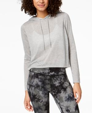 Calvin Klein Performance Cropped Hoodie In Pearl Grey Heather
