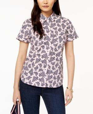 fd9c44e7c Tommy Hilfiger Cotton Short-Sleeve Printed Shirt, Created For Macy's In  Ballerina Fern