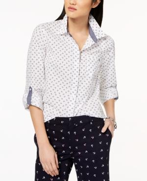 63946769d Tommy Hilfiger Cotton Printed Utility Shirt, Created For Macy's In  Ivory/Sky Captain Anchor