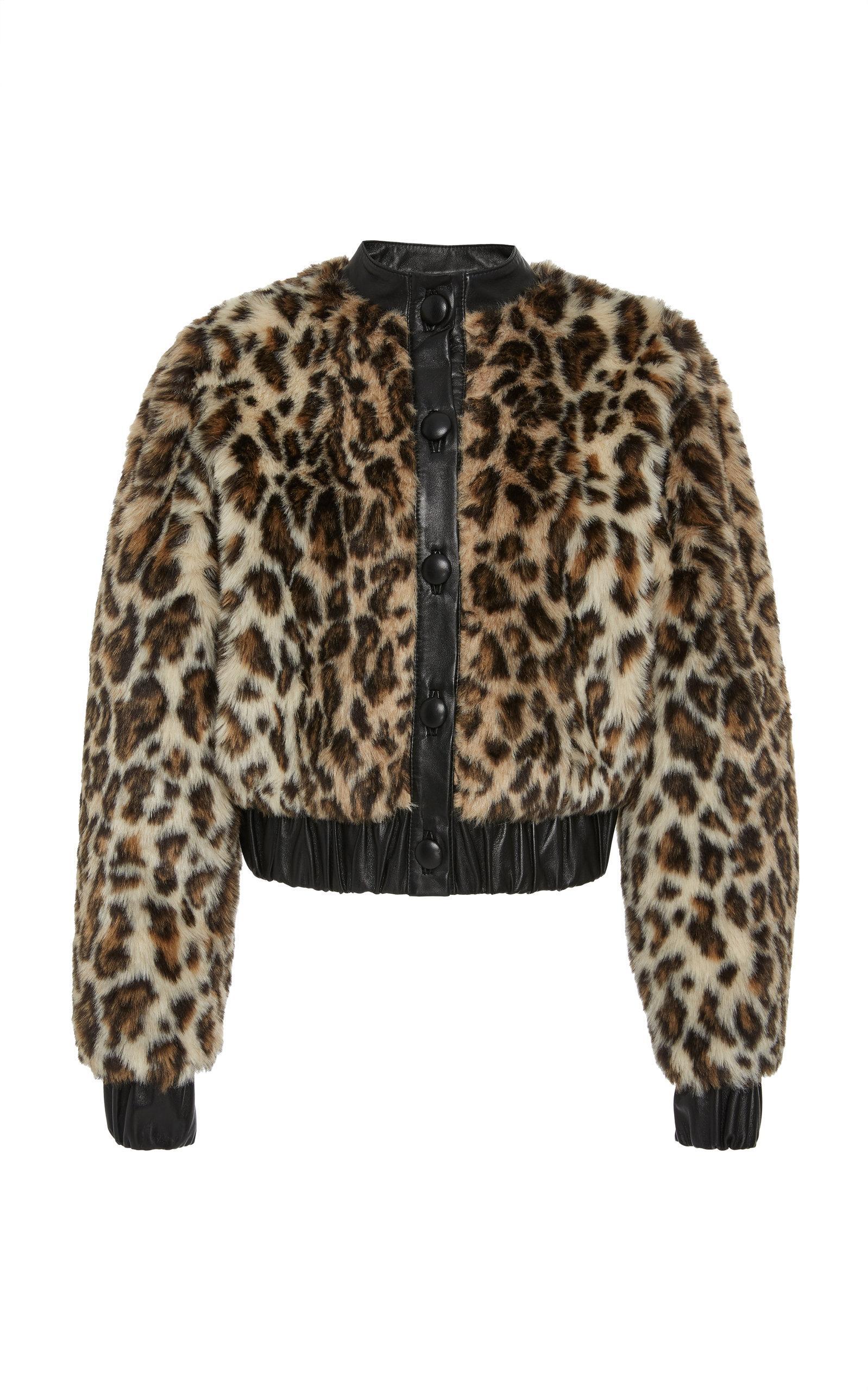 e36047c68 Leopard Print Faux Fur Bomber Jacket