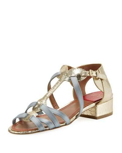 Laurence Dacade Woven Satin & Metallic Leather Sandal In Gold Blue/gold