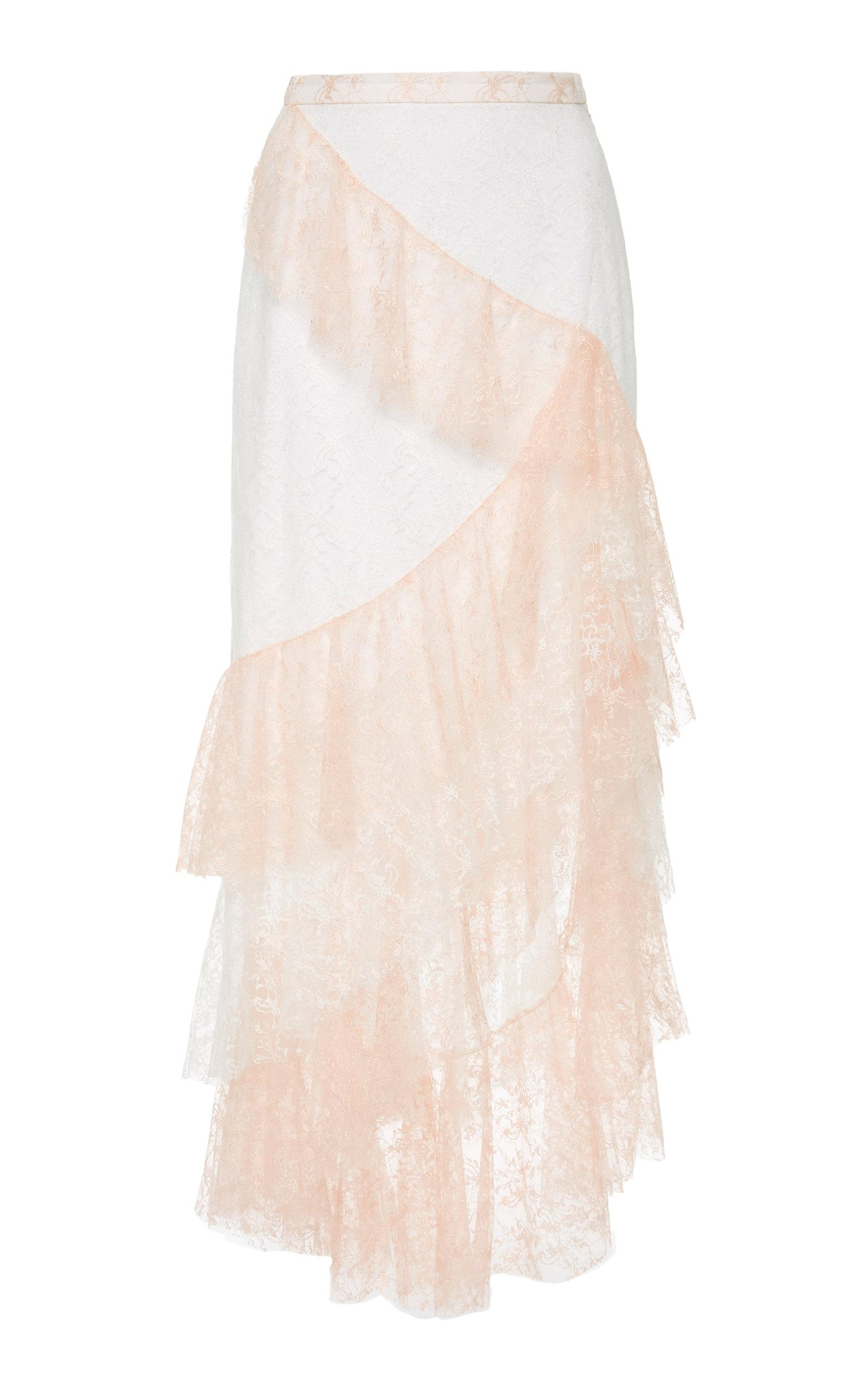 f62058237a Rodarte Floral Tulle Ruffle Skirt In Pink | ModeSens
