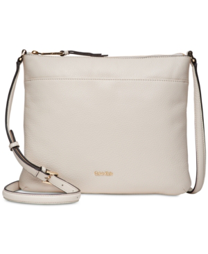 Calvin Klein Lily Pebble Leather Crossbody In White