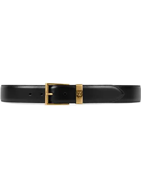 Gucci Tiger-Embossed Leather Belt In Black