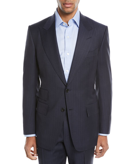 Tom Ford Windsor Melange Striped Two-Piece Wool Suit In Navy