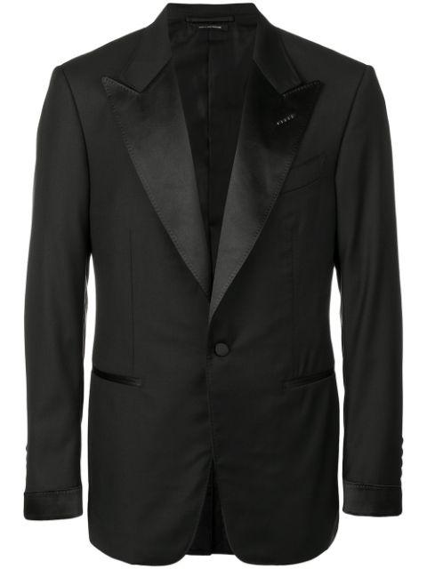 Tom Ford Grosgrain Peak-lapel Tuxedo In Black