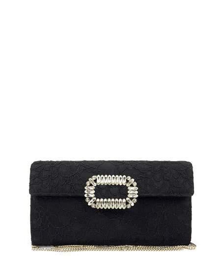 9a2bad00d0 Roger Vivier Envelope Flap Lace Clutch Bag In Black