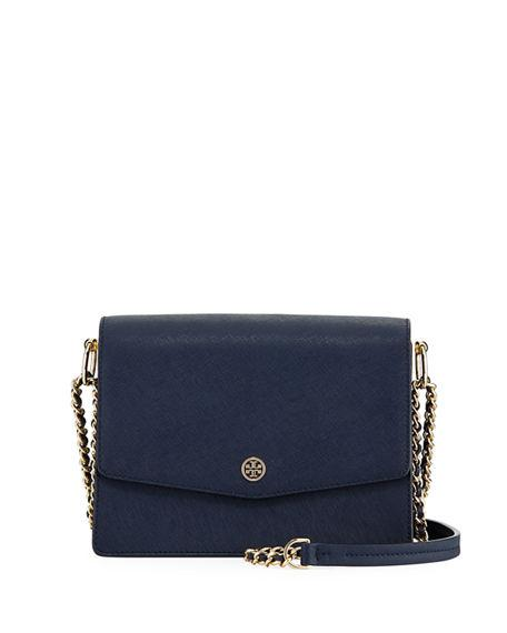 6ad89b03ec3 Tory Burch Robinson Mini Saffiano Shoulder Bag In Royal Navy   Black ...