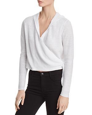 dafc8a99b234 Eileen Fisher Organic Linen Knit Hooded Wrap Cardigan In White ...
