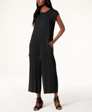 Eileen Fisher Stretch Jersey Cropped Wide-leg Jumpsuit, Regular & Petite In Black