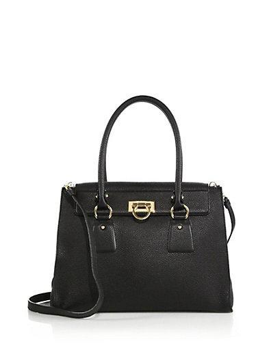 Salvatore Ferragamo Black Calfskin Medium 'Lotty' Convertible Top Handle Bag' In Nero-Black