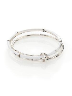 John Hardy Sterling Silver Bamboo Linked Bangle Bracelet