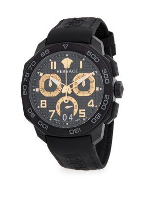 Versace Stainless Steel & Leather-Strap Watch In Charcoal