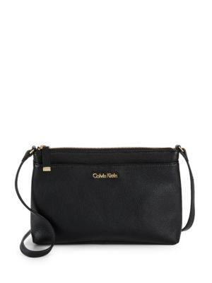 Calvin Klein Leather Crossbody Bag In Black