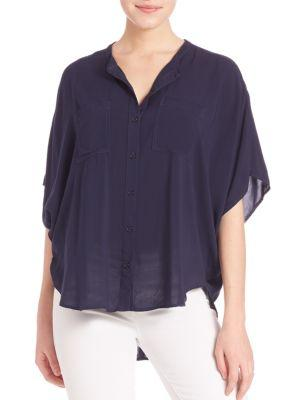 Splendid Rayon Voile Button-Up Blouse In Navy