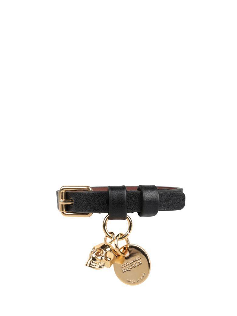 Alexander Mcqueen Skull Leather Bracelet In Nero
