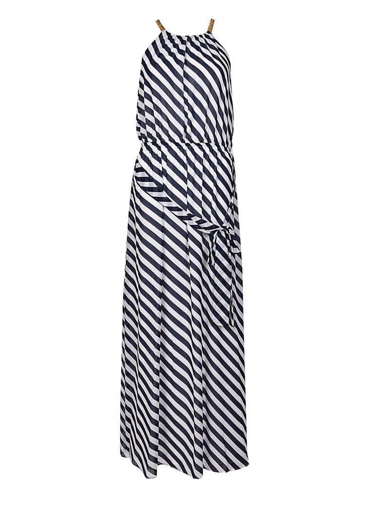 Michael Kors Diagonal Print Chain Neck Maxi Dress In Navy/white