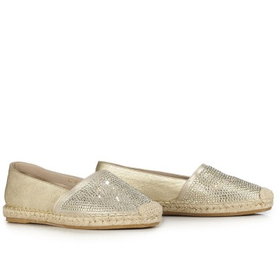 Le Silla Leather Espadrille In Narrow, Laminate Nappa Leather With Crystals In Platinum Colour In Old Platinum