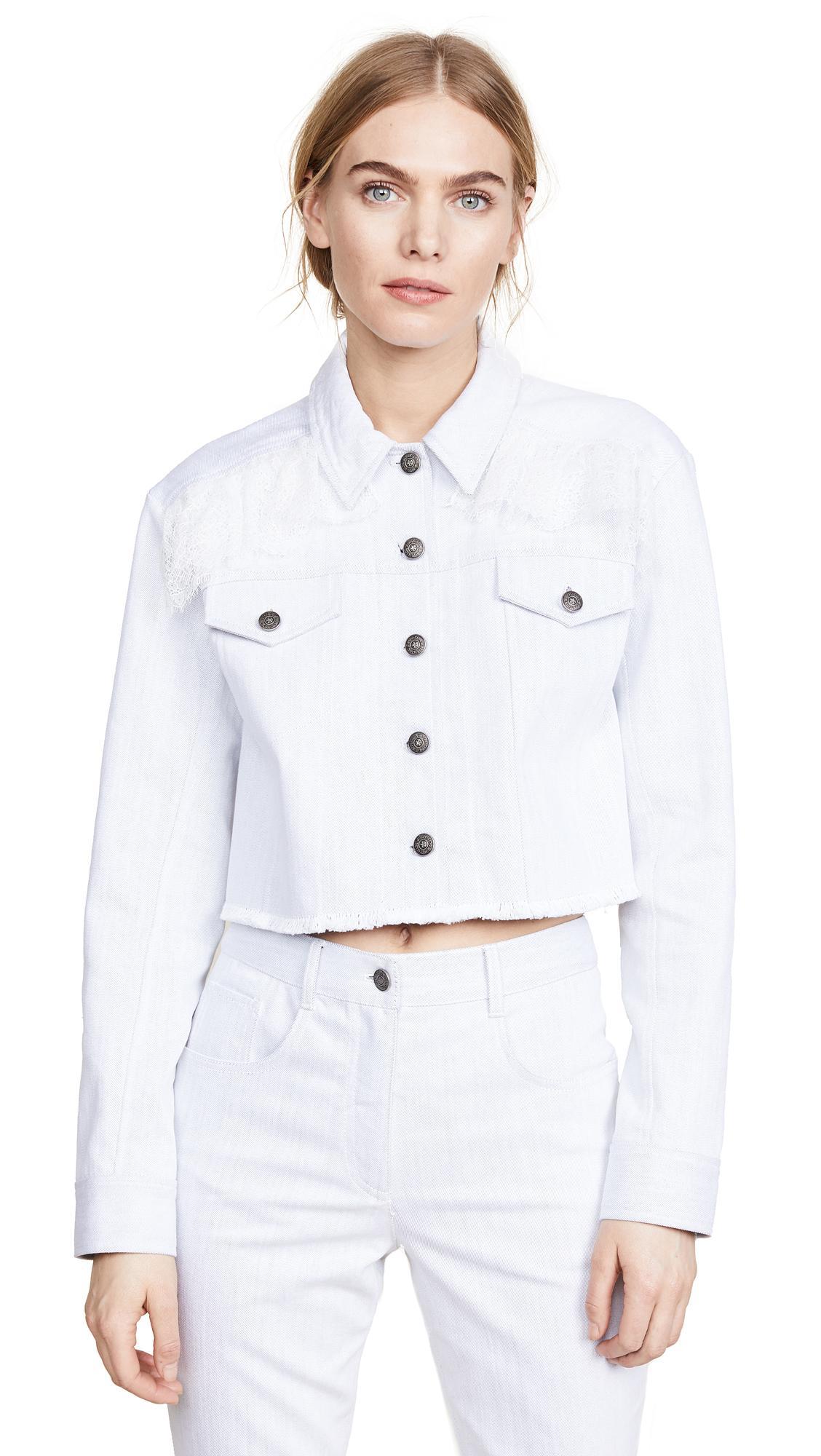 Cinq À Sept Cropped Denim Jacket In White/Ivory
