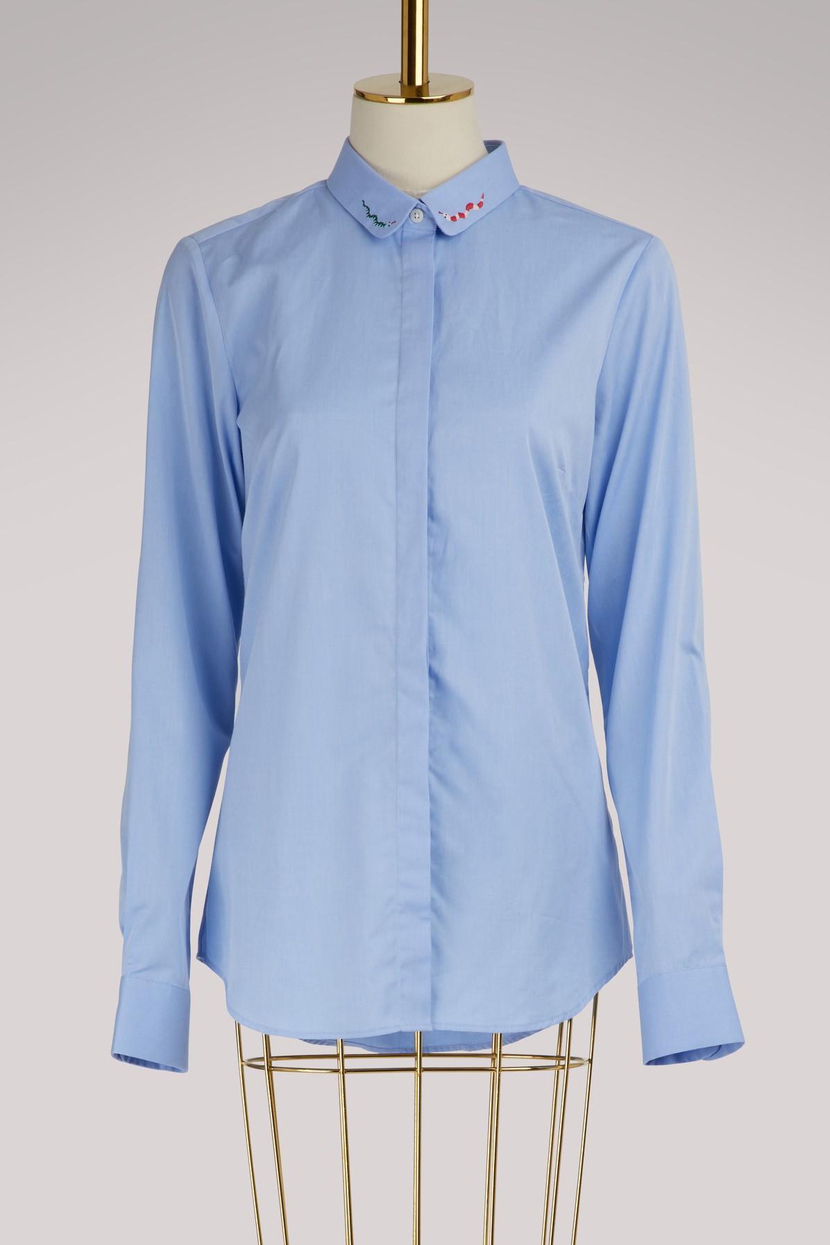 61edd00957d Maison Labiche Snake Cotton Shirt In School Blue