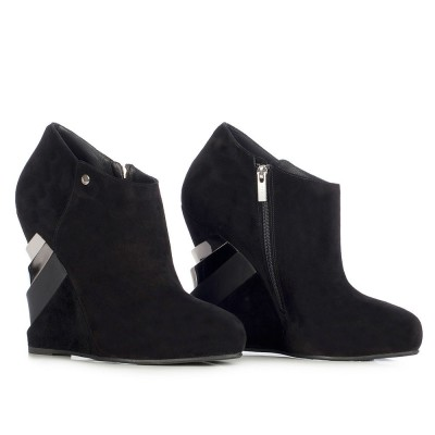 Le Silla Ankle Boot In Powder, Black Suede Calfleather In Nero/Argento