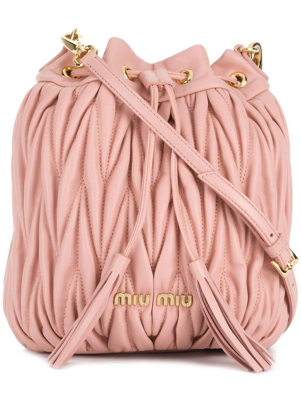 a09e0ae9974 Miu Miu Quilted Leather Bucket Bag In Pink