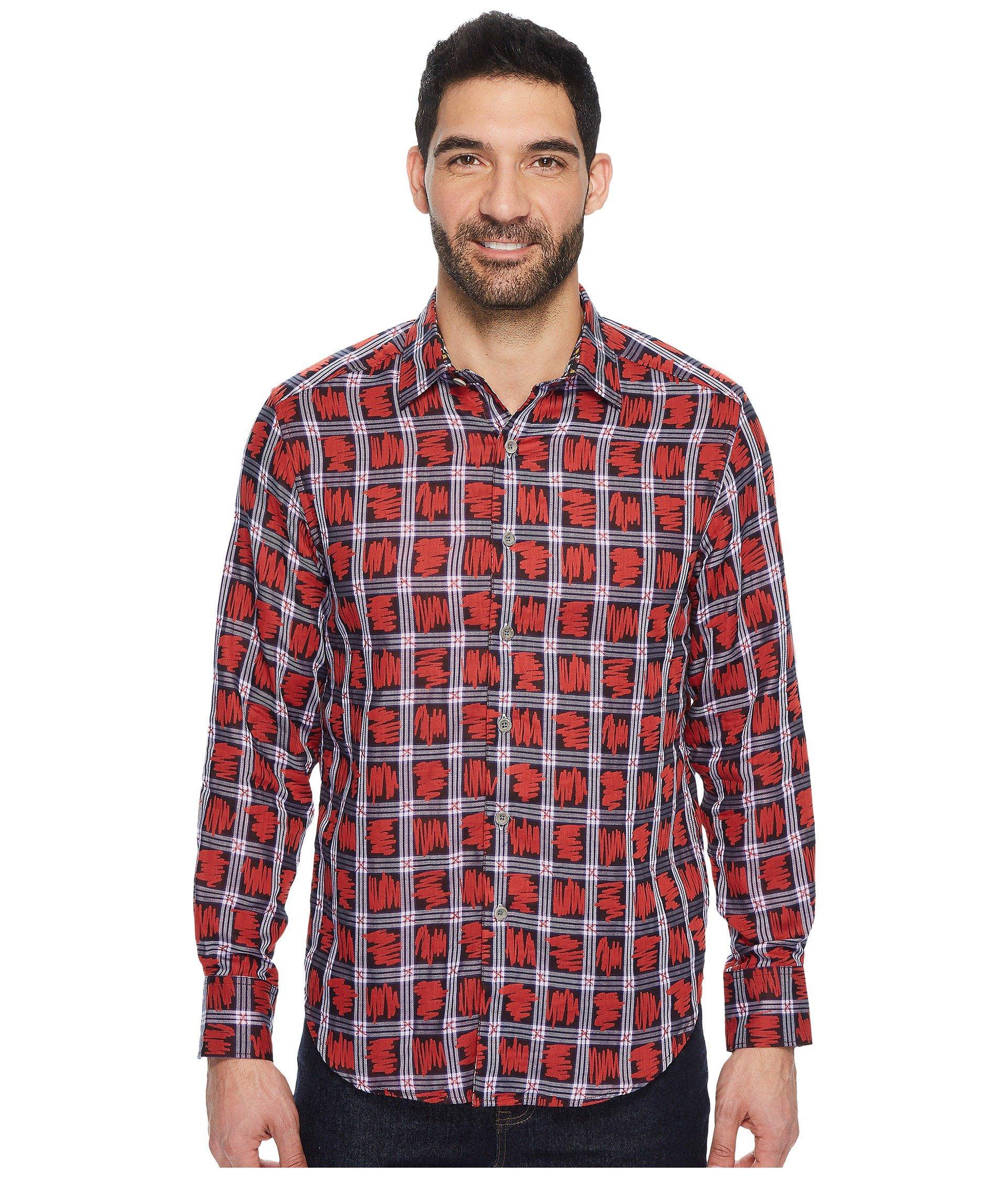 Robert Graham Nassau Long Sleeve Woven Shirt, Red