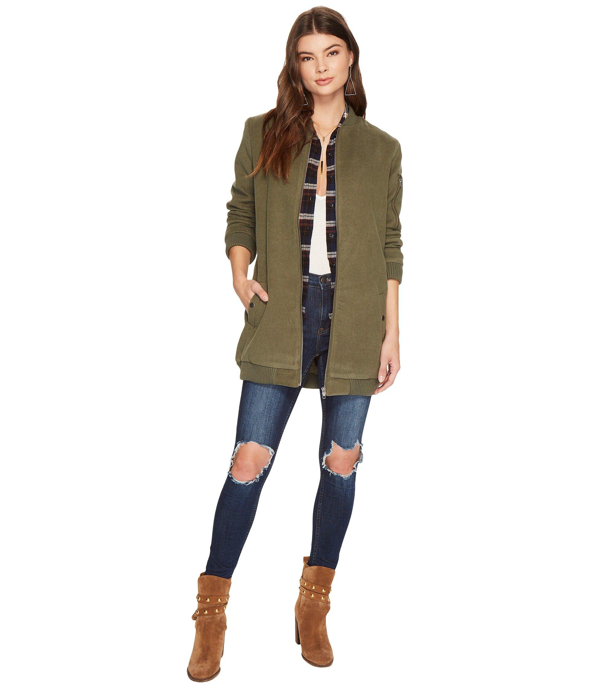 d9cad6844 Aaliyah Long Bomber Jacket With Rib Trim in Beetle Green