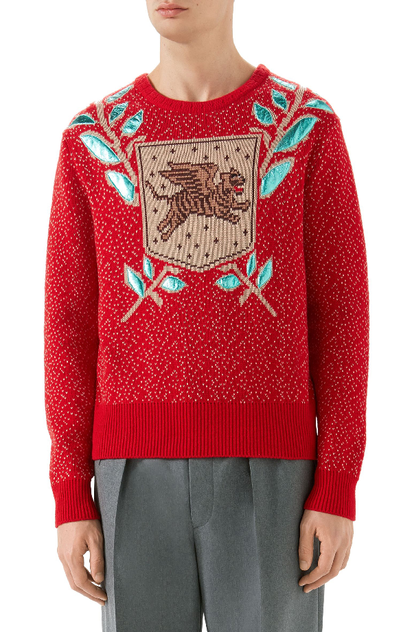 06a3a55bed5 Gucci Flying Tiger Red Wool-Blend Jumper