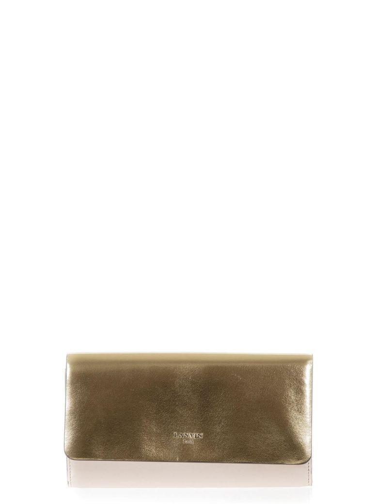 Lanvin Gold & Rose Metallic Leather Clutch In Gold-Rose
