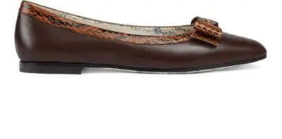 c0814b7e0 Gucci Women s Yva Leather   Snakeskin Bow Ballet Flats In Brown ...