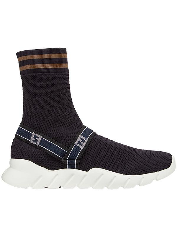 acdd57caedd3 Fendi Logo Harness-Strap Sock Sneakers - Black