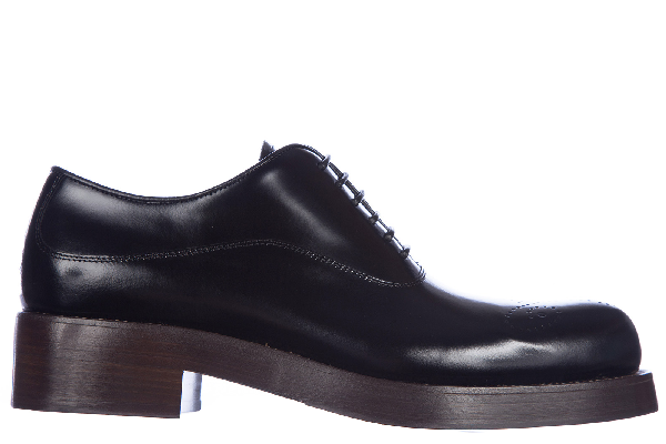 Prada Women S Classic Leather Lace Up Laced Formal Shoes Francesina In Black Modesens