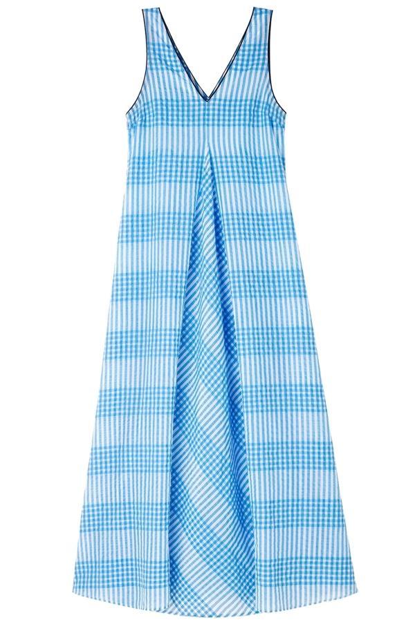 Ganni Charron Checked Cotton-blend Seersucker Maxi Dress In Blue